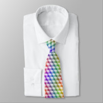 Pastel Rainbow Colored Shaded 3D Look Cubes Neck Tie