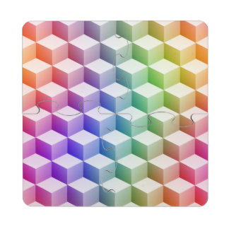 Pastel Rainbow Colored Shaded 3D Look Cubes Puzzle Coaster