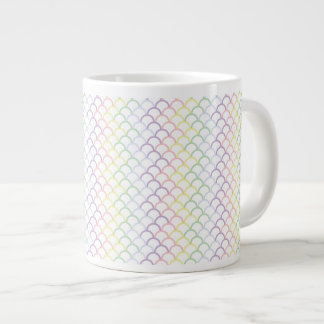Pastel Rainbow Dragon Scales Giant Coffee Mug