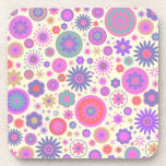 Pastel Rainbow Flower Pattern Coaster