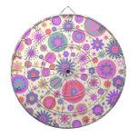 Pastel Rainbow Flower Pattern Dart Board