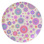 Pastel Rainbow Flower Pattern Party Plate