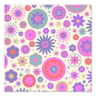 Pastel Rainbow Flower Pattern Photo
