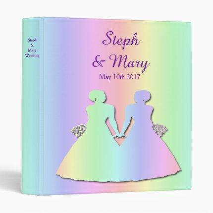 Pastel Rainbow Gay Wedding Album for Brides Binder