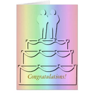 Pastel Rainbow Gay Wedding Cake Card