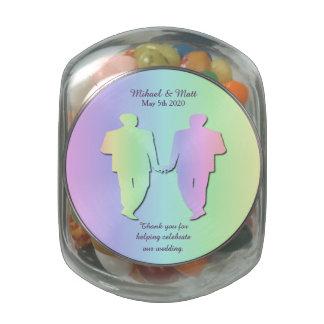 Pastel Rainbow Gay Wedding Favor Jelly Belly Jar Glass Candy Jars