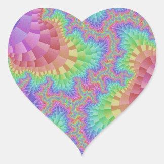 Pastel Rainbow Gear Heart Stickers