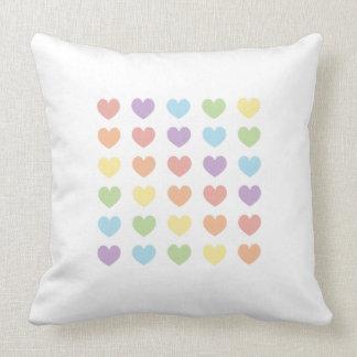 Pastel Rainbow Heart Pattern Pillow Double Sided