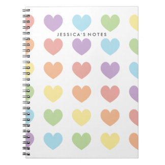 Pastel Rainbow Hearts Personalized Notebook