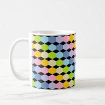 Pastel Rainbow Hexagons Black Coffee Mug