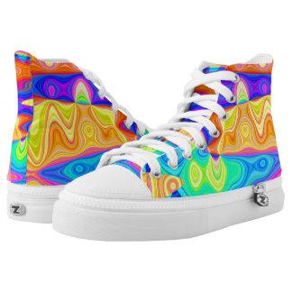Pastel Rainbow Hi Top Printed Shoes
