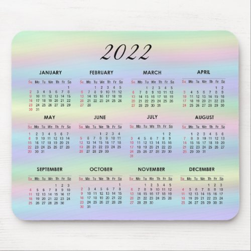 Pastel Rainbow Holographic   2022 Calendar Mouse Pad