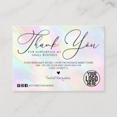 Pastel Rainbow Holographic Customer Thank You Business Card