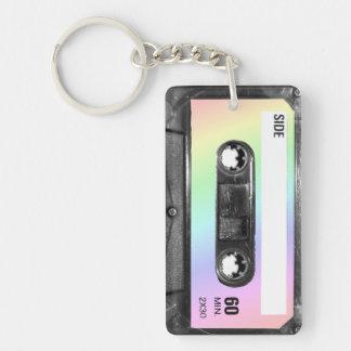 Pastel Rainbow Label Cassette Keychain