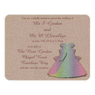 Pastel Rainbow Lesbian Brides' Wedding Invitation