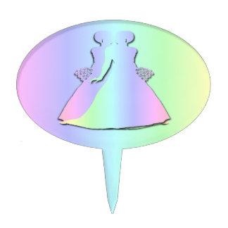 Pastel Rainbow Lesbian Wedding Cake Topper