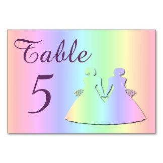 Pastel Rainbow: Lesbian Wedding Table Card