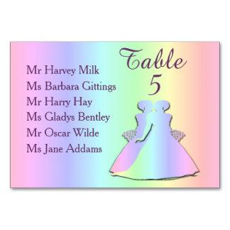 Pastel Rainbow Lesbian Wedding Table Card (Names)