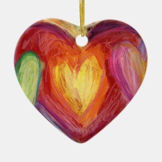 Pastel Rainbow Love Hearts Holiday Gift Ornament