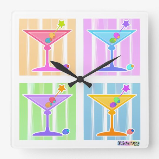 PASTEL RAINBOW MARTINIS WALL CLOCK