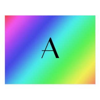 Pastel rainbow monogram postcards