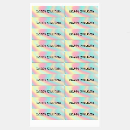 Pastel Rainbow Name School Waterproof Clothing Kids Labels
