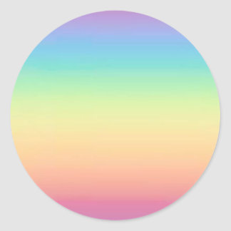 Pastel Rainbow Ombre Classic Round Sticker