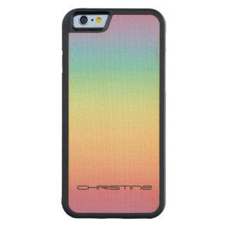 Pastel Rainbow Ombre Personalized Carved Maple iPhone 6 Bumper Case