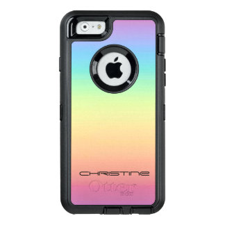 Pastel Rainbow Ombre Personalized OtterBox Defender iPhone Case