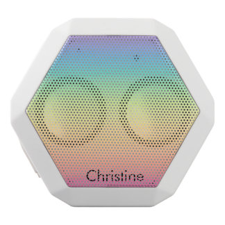 Pastel Rainbow Ombre Personalized White Bluetooth Speaker