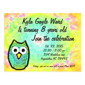pastel rainbow owl birthday invitation postcard