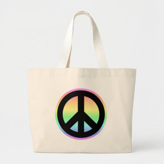 Pastel Rainbow Peace Sign Large Tote Bag