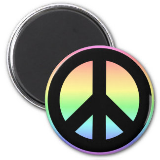 Pastel Rainbow Peace Sign 2 Inch Round Magnet