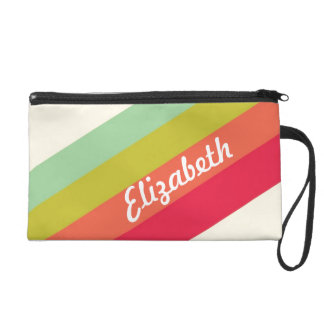 Pastel Rainbow Personalized Name Wristlet Clutches