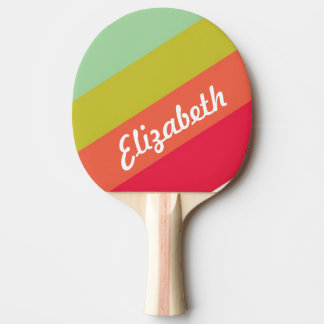 Pastel Rainbow Personalized Name Ping Pong Paddle