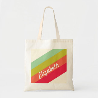 Pastel Rainbow Personalized Name Tote Bag