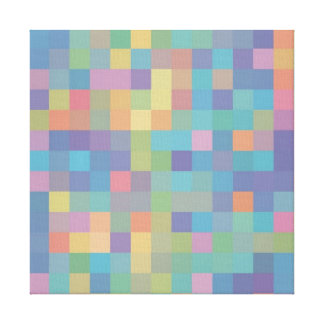 Pastel Rainbow Pixel Pattern Canvas Print