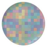 Pastel Rainbow Pixel Pattern Dinner Plate