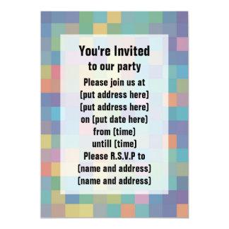 """Pastel Rainbow Pixel Pattern 5"""" X 7"""" Invitation Card"""