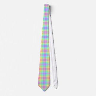 Pastel Rainbow Plaid Tie