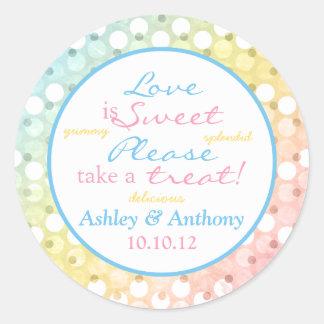 Pastel Rainbow Polka Dot Candy Buffet Stickers