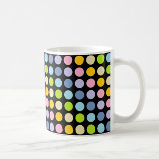 Pastel Rainbow Polka Dots Black Coffee Mug