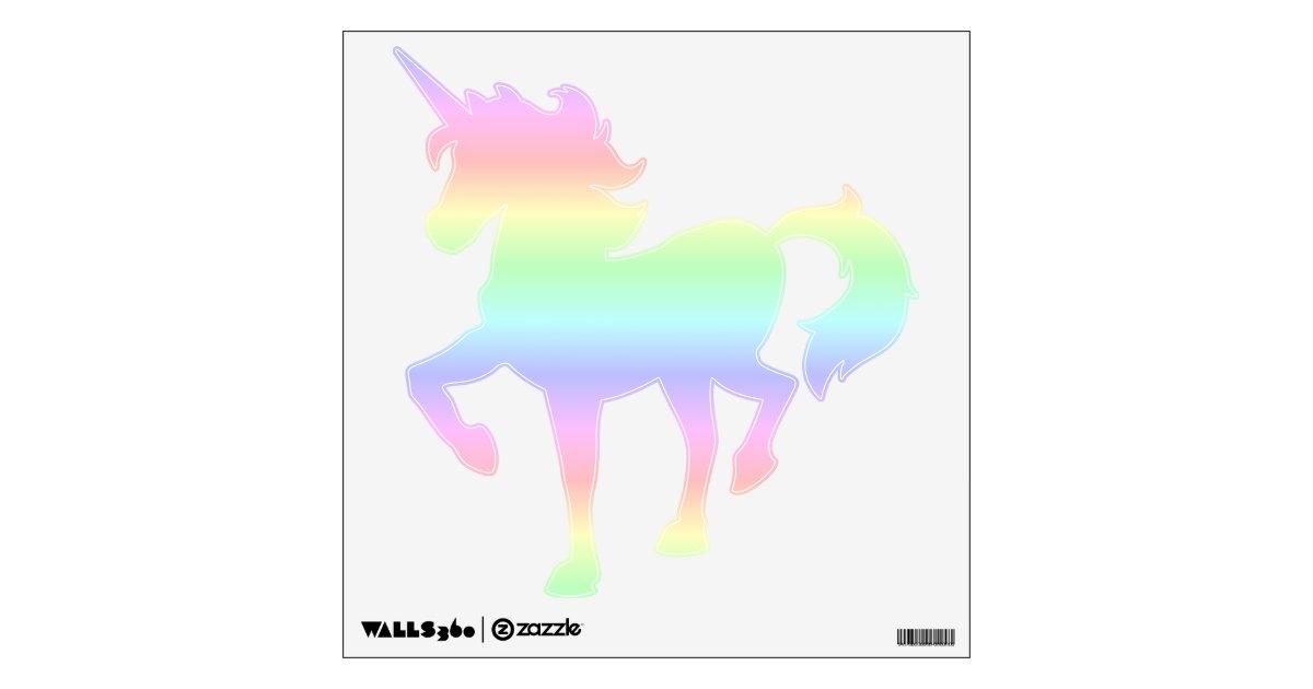 Pastel Rainbow Prancing Unicorn Wall Decal Zazzle Com