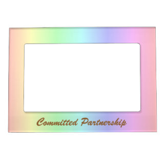 Pastel Rainbow Pride Committed Partnership Frame