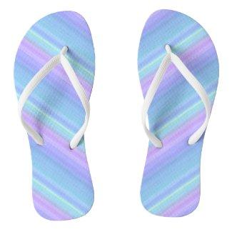 Pastel Rainbow Purple Blue Green Flip Flops