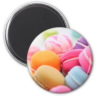Pastel Rainbow Scattered French Macaron Cookies 2 Inch Round Magnet