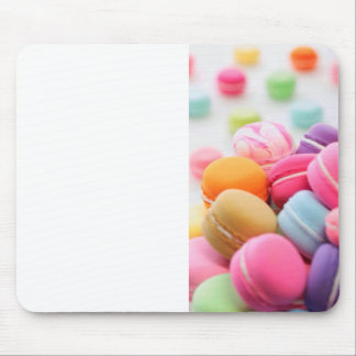 Pastel Rainbow Scattered French Macaron Cookies Mouse Pad