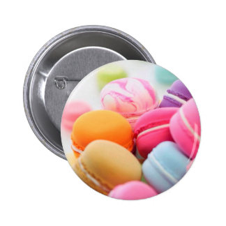 Pastel Rainbow Scattered French Macaron Cookies Pinback Button