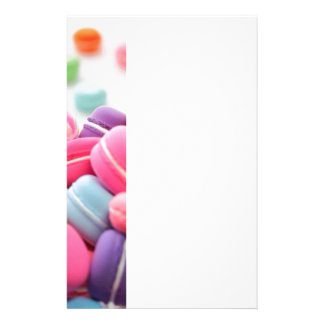 Pastel Rainbow Scattered French Macaron Cookies Stationery