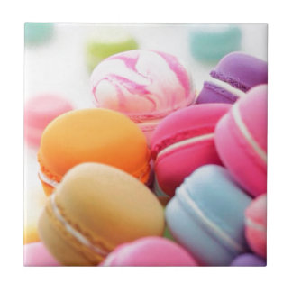 Pastel Rainbow Scattered French Macaron Cookies Tile